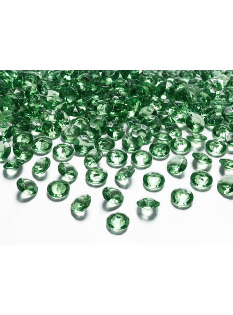 Balení 100 tmavě zelených dekorativních krystalů,  12mm