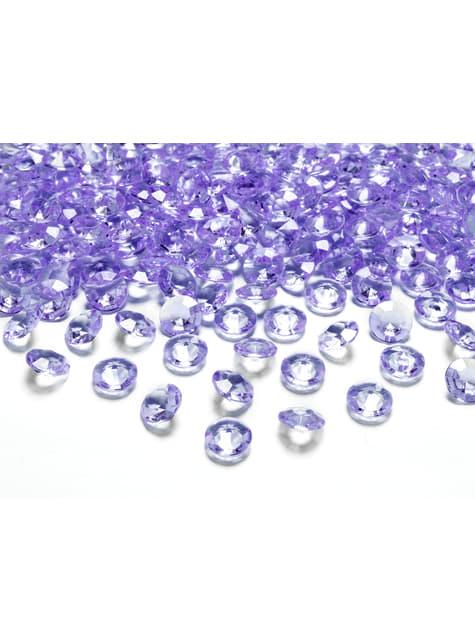 100 diamantes decorativos lila para mesa de 12 mm