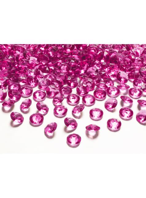 Balení 100 zářivě růžových dekorativních krystalů, 12mm