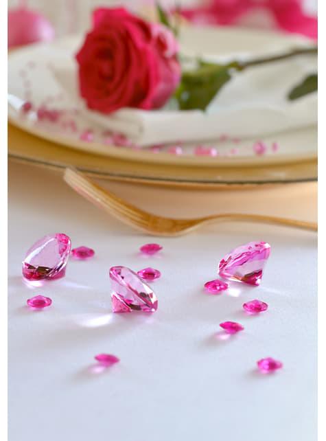 100 diamants décoratifs fuchsia pour la table de 12 mm