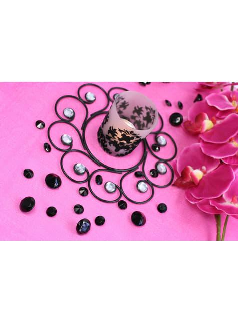 Balení 100 černých dekorativních krystalů, 12mm