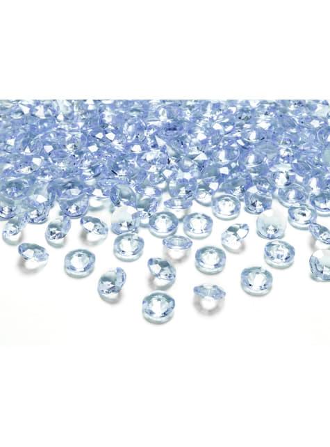 Balení 100 modrých dekorativních krystalů,  12mm
