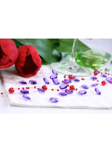 Balení 100 světle fialových dekorativních krystalů,  12mm