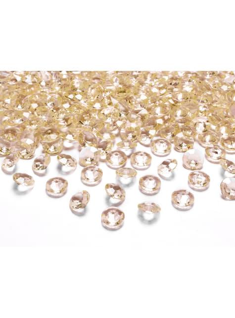 Balení 100 zlatých dekorativních krystalů, 12mm
