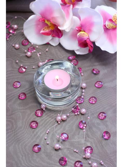 Balení 100 růžových dekorativních krystalů,  12mm