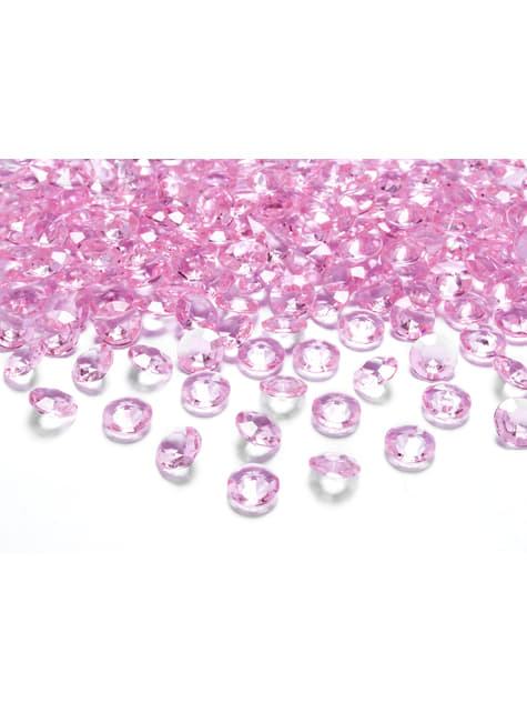 100 diamantes decorativos rosa claro para mesa de 12 mm
