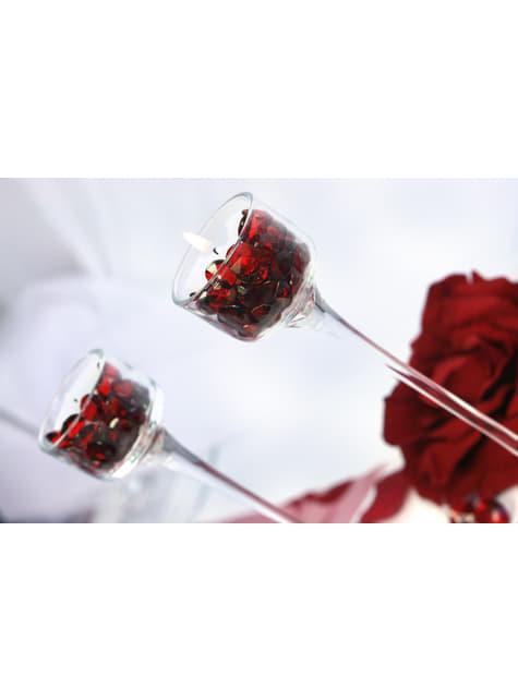 Balení 100 tmavě červených dekorativních krystalů, 12mm
