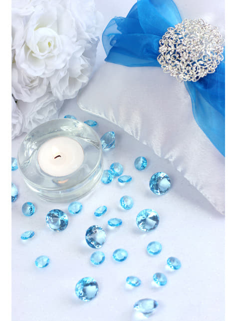 100 diamantes decorativos azul turquesa para mesa de 12 mm - para tus fiestas