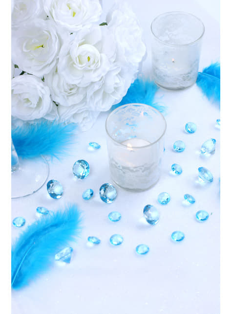 100 diamantes decorativos azul turquesa para mesa de 12 mm