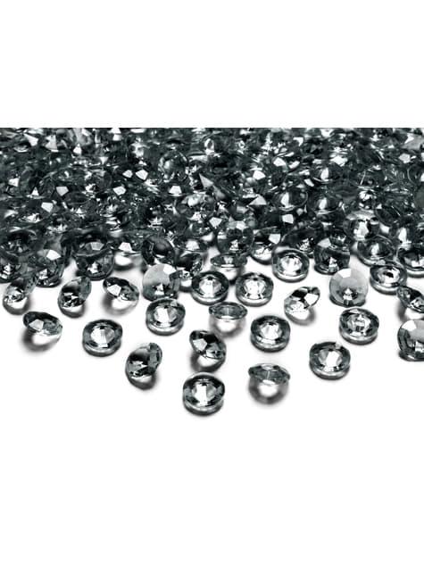100 diamants décoratifs gris foncé pour la table de 12 mm