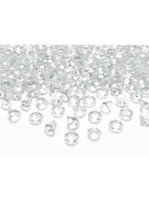Conjunto de 100 diamantes decorativos transparentes para mesa de 12 mm