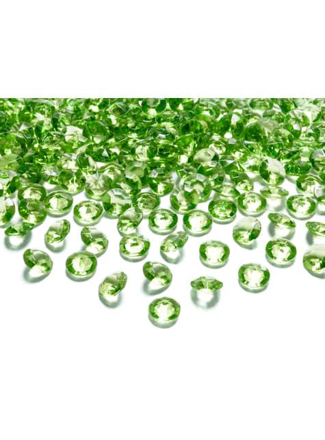 Balení 100 světle zelených dekorativních krystalů,  12mm