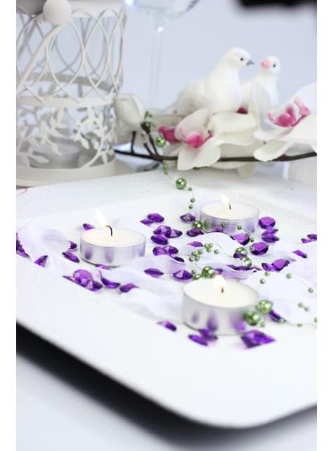 Balení 100 fialových dekorativních krystalů, 12mm