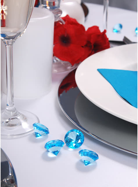 10 diamantes decorativos azul turquesa para mesa de 20 mm