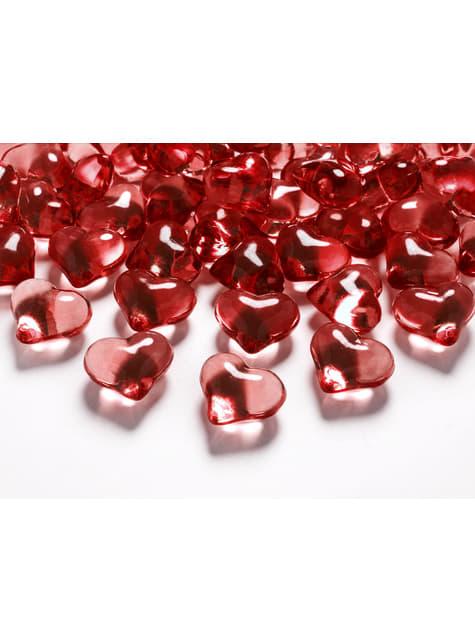 Balení 30 červených dekorativních krystalů ve tvaru srdce,  21mm