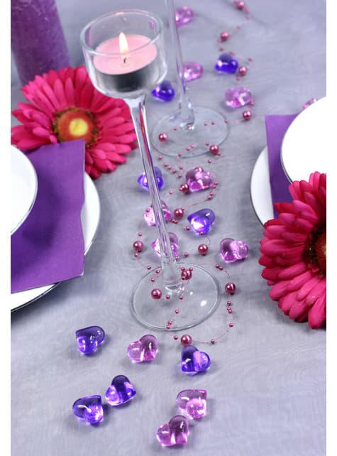 Balení 30 fialových dekorativních krystalů ve tvaru srdce,  21mm