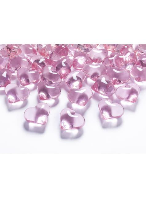 Balení 30 světle růžových dekorativních krystalů ve tvaru srdce,  21mm