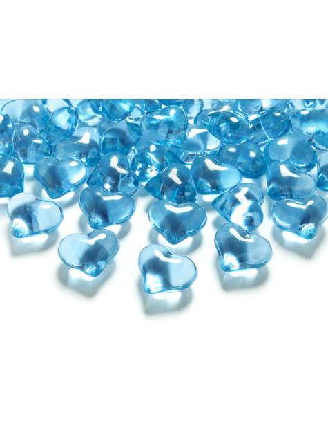 Balení 30 tyrkysových dekorativních krystalů ve tvaru srdce,  21mm