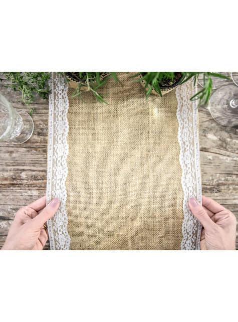 Camino de mesa de rafia con encaje lateral - decoración de fiesta