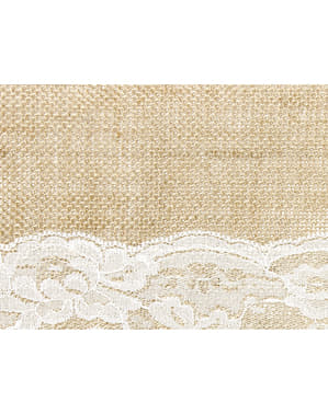 Burlap Table Runner with Center Lace Row