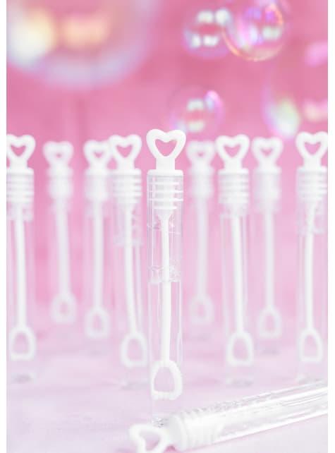 Seifenblasenflaschen Set 48-teilig in Herz-Form weiß