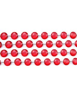 Dekorativ girlander med rød krystalls med mål på 1 m og 18 mm i diameter
