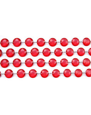 Ghirlandă decorativă de cristal roșie de 1 m și 18 mm de diametru