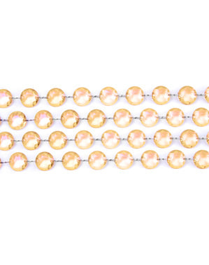 Guirnalda decorativa de cristal dorada de 1 m y 18 mm de diámetro