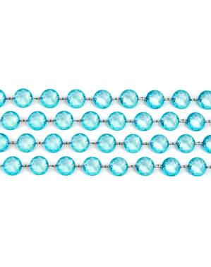 फ़िरोज़ा नीले क्रिस्टल की सजावटी माला व्यास में 1 मीटर और 19 मिमी मापती है