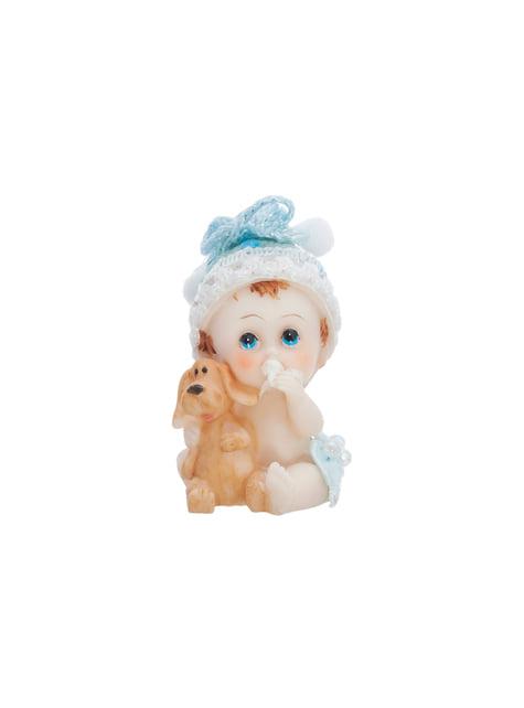 Figurine pour gâteau garçon ave chien - Little Figurines