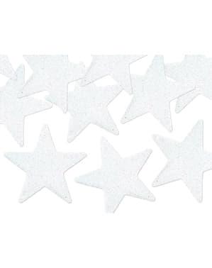 Комплект от 8 звездни декорации за маса, бял
