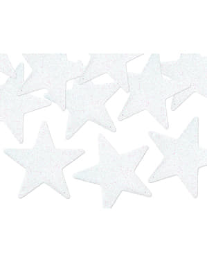 Zestaw 8 dekoracje stołu białe białe gwiazdki