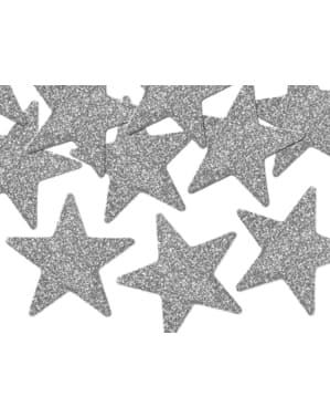 8 dekorationsstjärnor till bordsdukning silverfärgade