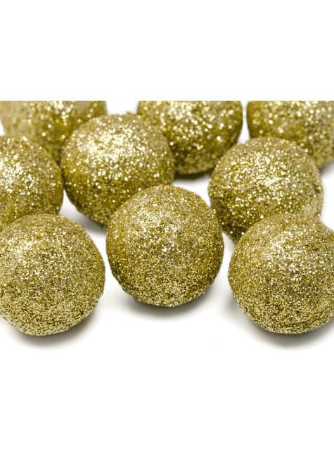 25 ozdobných koulí na stůl zlatých
