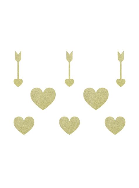 8 elementos decorativos dorados para mesa - Sweet Love