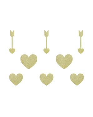 8 éléments décoratifs dorés pour la table - Sweet Love