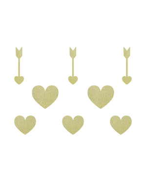 8 Paper Table Decorations, Gold - Sweet Love