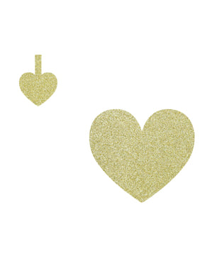 8 elementos decorativos dourados para mesa - Sweet Love