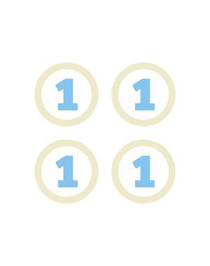 4 elementos decorativos para mesa 1st Birthday azuis - Blue First Birthday