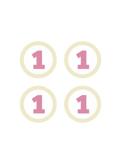 4 elementos decorativos para mesa 1st Birthday rosas - Pink First Birthday