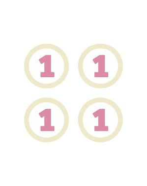 4 1st Birthday paperista pöytäkoristetta, pinkki - Pink First Birthday