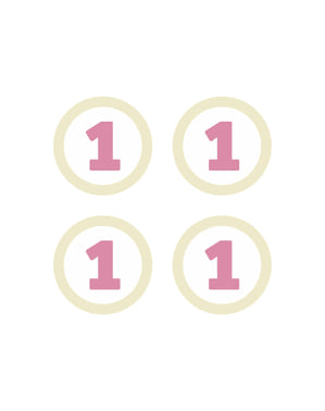 Set od 4 rojstni dan papirja namizni okraski, Pink - Pink prvi rojstni dan