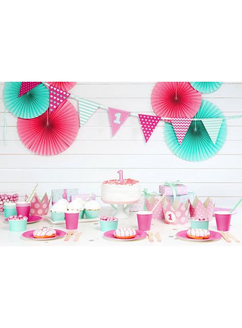 4 elementos decorativos para mesa 1st Birthday rosas - Pink First Birthday - para tus fiestas