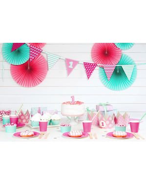 4 elementos decorativos para mesa 1st Birthday rosas - Pink First Birthday