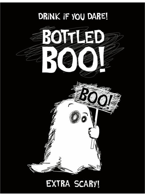 10 Ghost Bottle Labels - Boo!