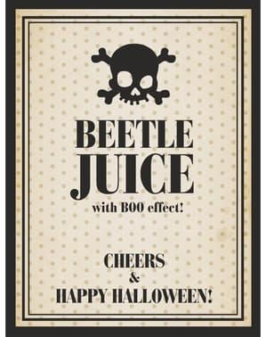 10「ビートルジュース」ボトルラベル - ハロウィーンのセット
