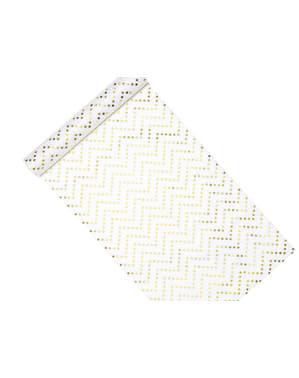 Chevron Stjerner Bordløber, Guld - Printed Fabrics