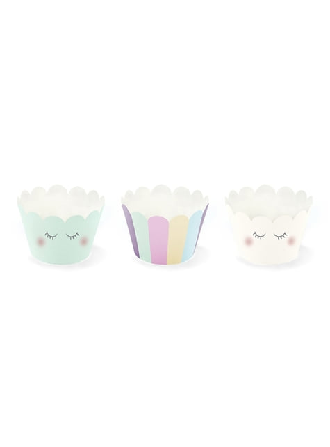 6 Paper Cupcake Wrappers in Pastel Shades - Unicorn Collection