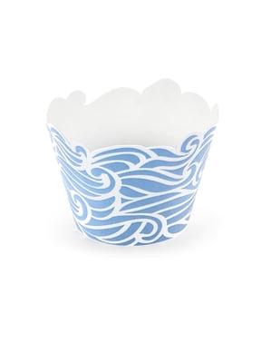 Set 6 modrých papírových košíčků s námořnickým vzorem - Ahoy! Collection