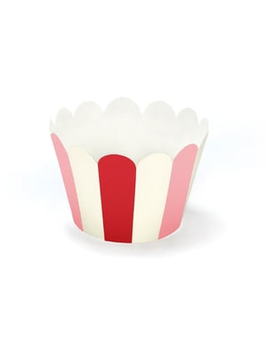 6 Paper Cupcake Wrappers with Pink & Red Stripes - Sweet Love Collection